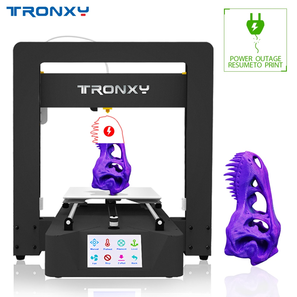Newest Tronxy 3D Printer X6A Model Full metal frame Auto level heatbed  Power loss resume to print filament detection Touch LCD